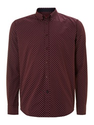 Merc Siegel Polka Dot Shirt Burgundy