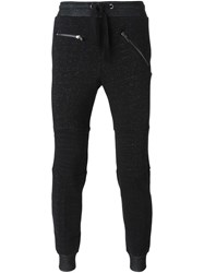 Les Hommes Quilted Knee Patches Track Pants Grey