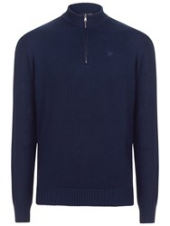 Hackett London Garment Dye Cotton Wool Zip Neck Jumper Navy