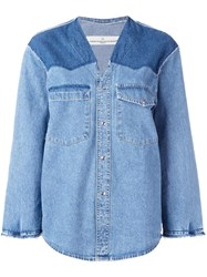 Golden Goose Deluxe Brand Collarless Denim Shirt Blue