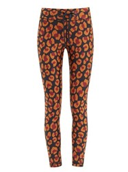 The Upside Leopard Print Technical Jersey Leggings Red Print