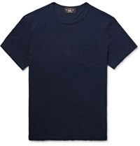 Rrl Indigo Dyed Slub Cotton Jersey T Shirt Midnight Blue