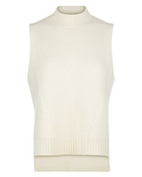 Jaeger Textured Wool Stepped Hem Top White