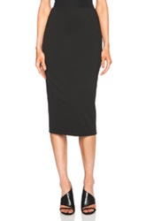 T By Alexander Wang Lux Viscose Blend Ponte Fitted Calf Length Skirt In Black