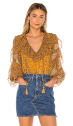Tularosa Claire Blouse In Mustard. Mustard Floral