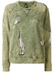 Versus Mesh Insert Distressed Sweatshirt Women Cotton Metal Xs Green