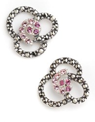Lord And Taylor Openwork Floral Stud Earrings Silver