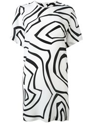 Emilio Pucci Geometric Print T Shirt Dress Women Silk 40 White