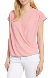 Gibson Draped Faux Wrap Top Pink Berry Ice