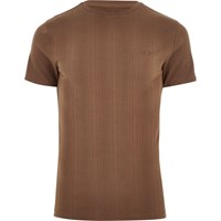 River Island Light Brown Muscle Fit Embroidered T Shirt
