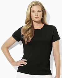 Lauren Ralph Lauren Plus Ribbed Crew Neck Tee Black