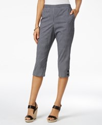 Alfred Dunner Petite Garden Party Gingham Pull On Capris Black