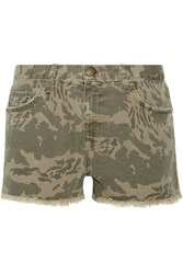 Current Elliott The Boyfriend Frayed Camouflage Print Denim Shorts Army Green