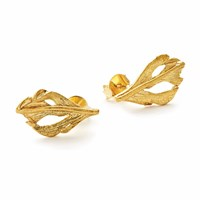 Chupi I Can Fly Baby Swan Feather Stud Earrings In Gold