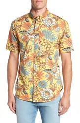Reyn Spooner Vintage Hawaiian Regular Fit Floral Sport Shirt Yellow