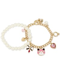 Betsey Johnson Gold Tone 2 Pc. Set Multi Charm And Imitation Pearl Bracelets