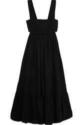 Chloe Tie Back Linen Maxi Dress Black