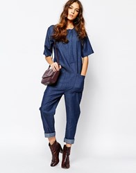 Neon Rose Denim Relaxed Jumpsuit Blue