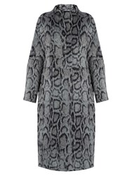 Elizabeth And James Balin Leopard Print Faux Fur Coat Grey Navy