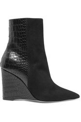Giuseppe Zanotti Kristen Suede And Croc Effect Leather Wedge Ankle Boots Black