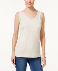 Karen Scott Petite Scalloped Lace Cotton Tank Only At Macy's Pebble