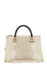 Carla Ferreri Croc Embossed Leather Handbag Beige