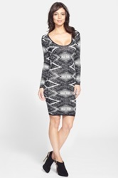 Tracy Reese 'Felicity' Geo Knit Body Con Dress Black