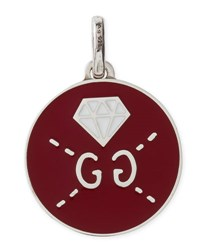 Guccighost Sterling Silver And Enamel Diamond Charm Red White