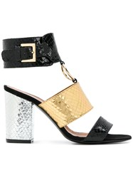 Via Roma 15 Snakeskin Effect Ring Detail Sandals Black
