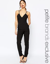 True Decadence Petite Strappy Plunge Front Jumpsuit Black