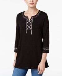 Jm Collection Petite Embellished Lace Up Tunic Only At Macy's Deep Black