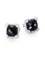 Judith Ripka La Petite Black Onyx White Sapphire And Sterling Silver Cushion Stud Earrings