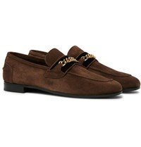 Tom Ford Wilton Chain Embellished Velvet Trimmed Suede Loafers Brown