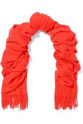 Rag And Bone Woman Fringe Trimmed Brushed Wool Scarf Tomato Red