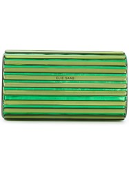 Elie Saab Metallic Clutch Bag Green