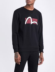 Evisu Logo Print Cotton Jersey Sweatshirt Black