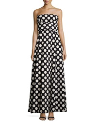 Tracy Reese Strapless Crisscross Front Polka Dot Gown Black Ecru