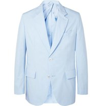 Brioni Sky Blue Unstructured Cotton Poplin Suit Jacket Blue