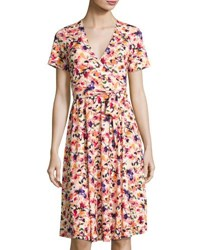 Catherine Malandrino Short Sleeve Floral Print Faux Wrap Dress Multi Pattern