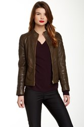 Ted Baker Quilted Sleeve Genuine Leather Jacket Green