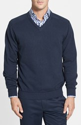 Men's Big And Tall Cutter And Buck 'Broadview' V Neck Sweater Navy Heather