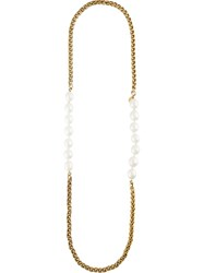 Chanel Vintage Faux Pearl Chain Necklace Yellow And Orange