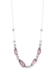 Nadri Amethyst Cubic Zirconia And Sterling Silver Collar Necklace Purple