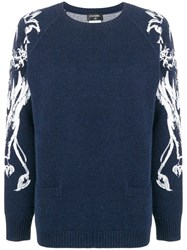 Chanel Vintage Lion Brush Print Jumper Blue