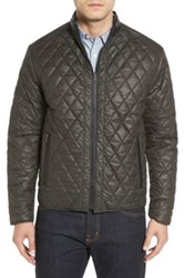 Remy Leather Diamond Quilted Water Resistant Reversible Jacket Green