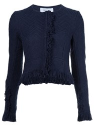 Derek Lam 10 Crosby Frayed Cropped Jacket Blue