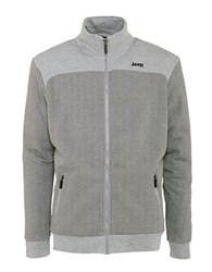 Jeep Herringbone Zip Front Sweatshirt Grey