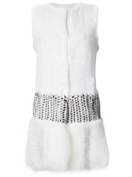 Oscar De La Renta Panelled Sleeveless Coat Women Silk Fox Fur Mink Fur S White