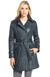 Via Spiga Belted Asymmetrical Quilted Trench Coat Bottle Green
