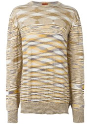 Missoni Vintage Striped Fine Knit Sweater Nude And Neutrals